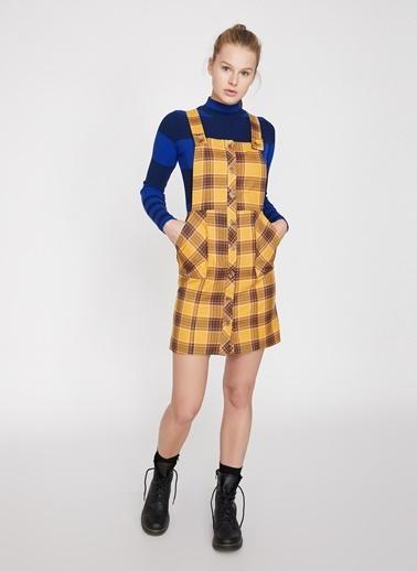Koton Koton Düğme Detaylı Ekoseli Hardal Elbise Sarı